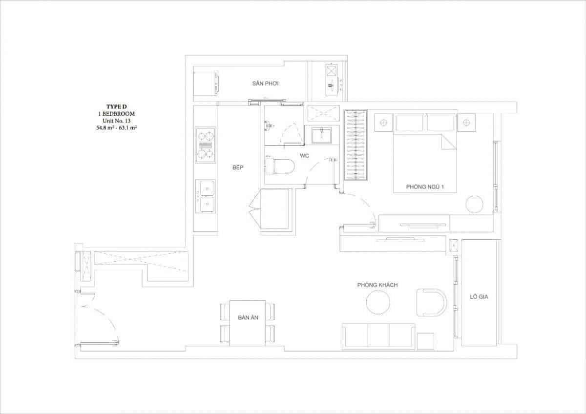 Căn hộ 1 phòng ngủ Ascent Garden Homes