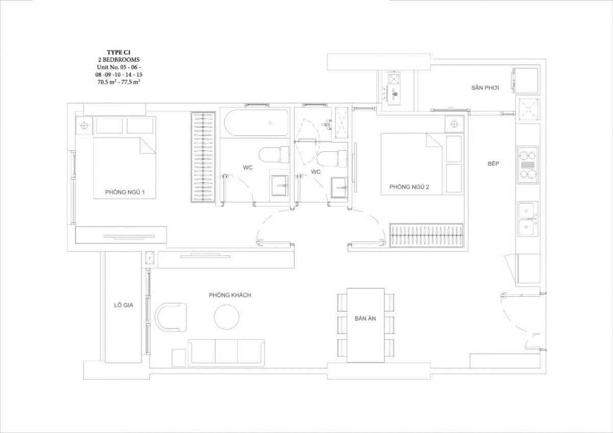 Căn hộ 2 phòng ngủ Ascent Garden Homes