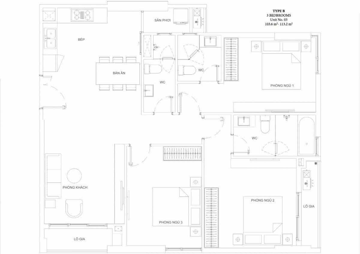 Căn hộ 3 phòng ngủ Ascent Garden Homes