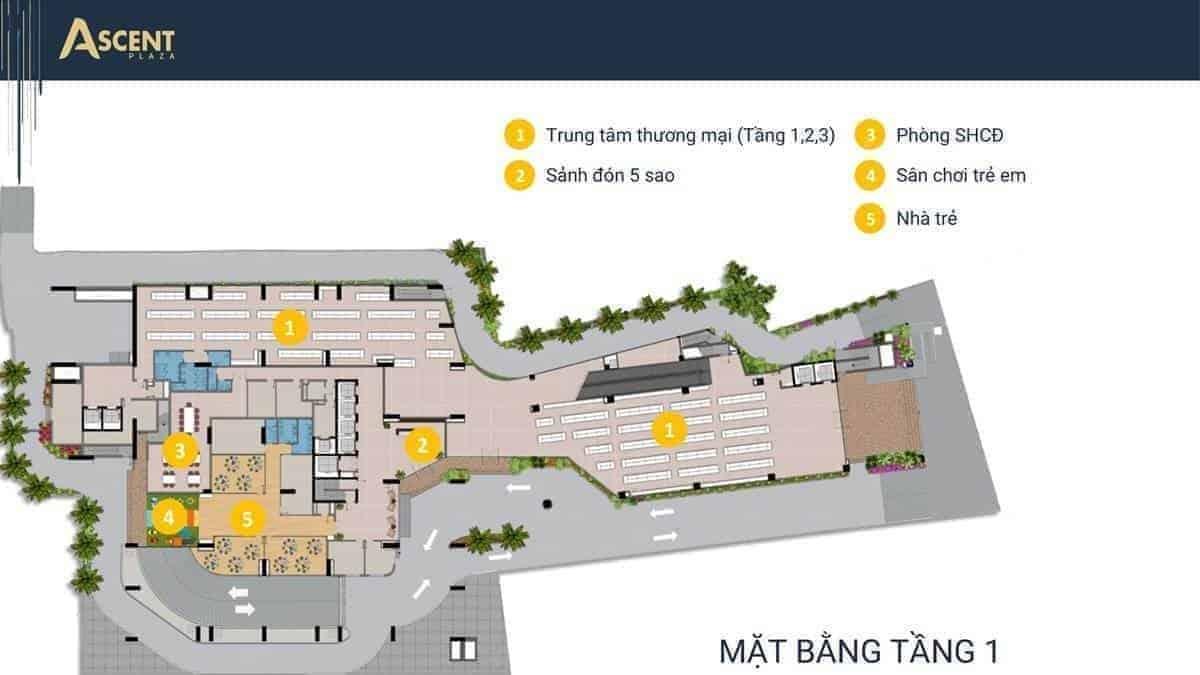 Mặt bằng khu thương mại Ascent Plaza