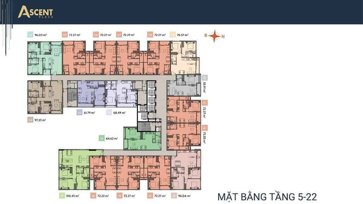 Mặt bằng tầng 5-22 Ascent Plaza