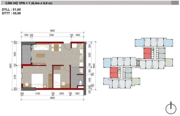 Căn hộ 1 Phòng Ngủ Charm City HBH