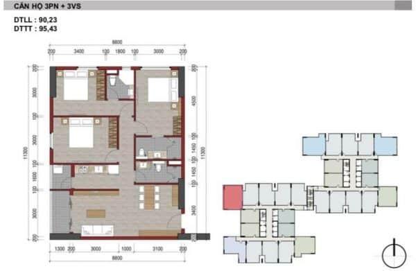 Căn hộ 3 Phòng Ngủ Charm City HBH
