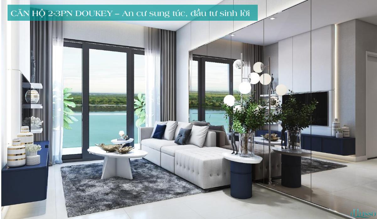 Phối cảnh phòng khách căn hộ D'Lusso