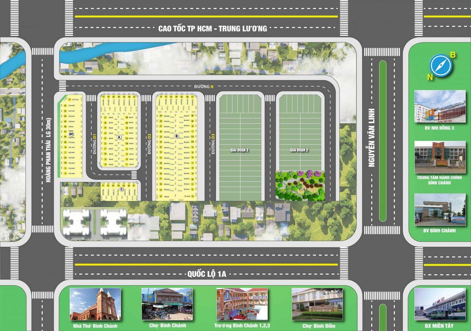Mặt bằng dự án đất nền Bình Chánh New Center