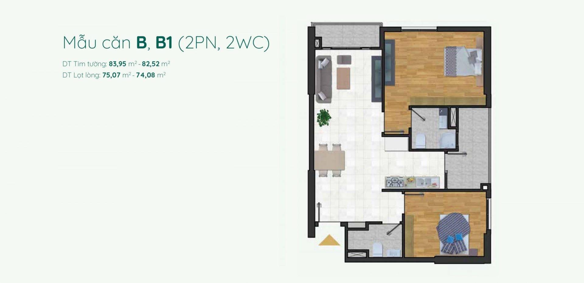Thiết kế mẫu A căn hộ 2 phòng ngủ Minh Quốc Plaza