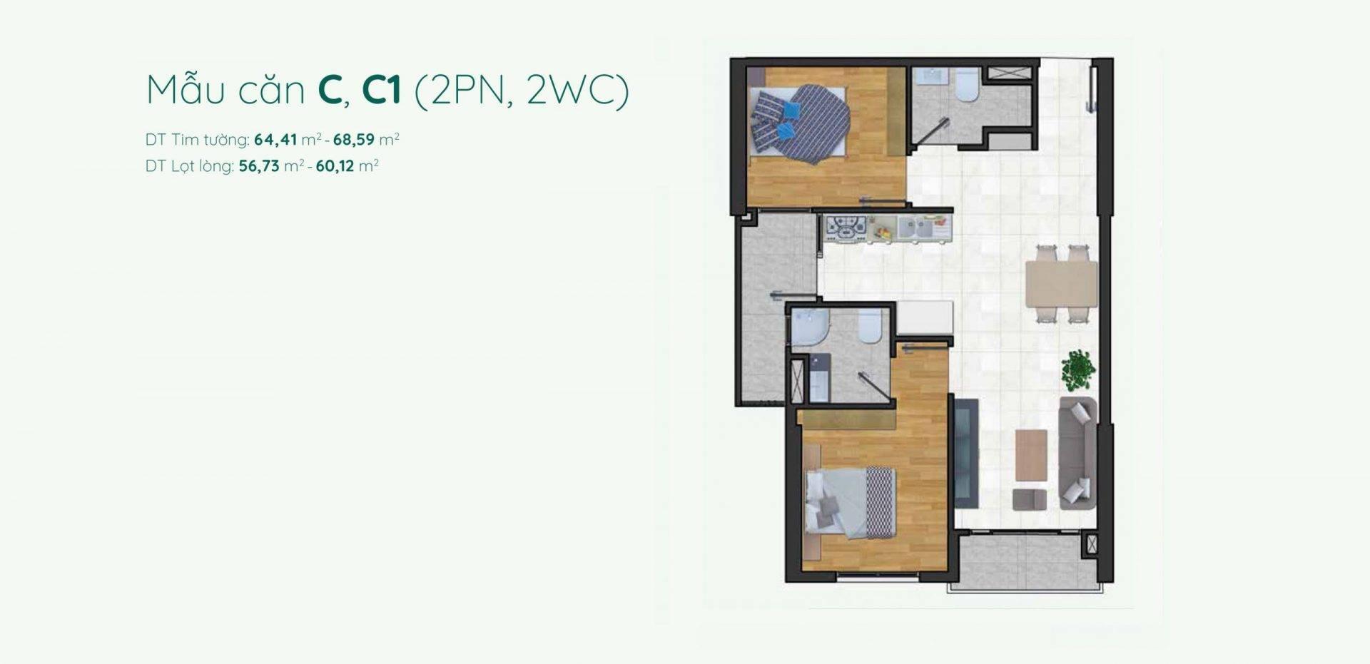 Thiết kế mẫu C, C1 căn hộ 2 phòng ngủ Minh Quốc Plaza