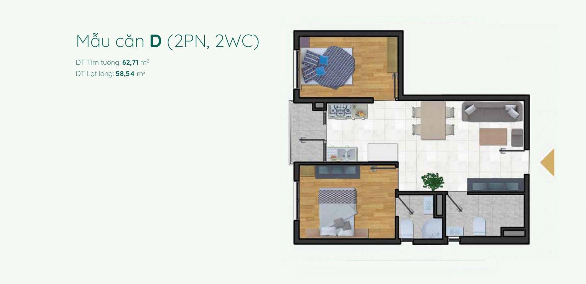 Thiết kế mẫu D căn hộ 2 phòng ngủ Minh Quốc Plaza