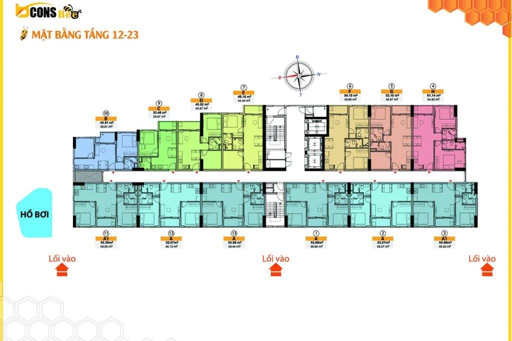 Mặt bằng tầng 12-23 dự án Bcons Bee