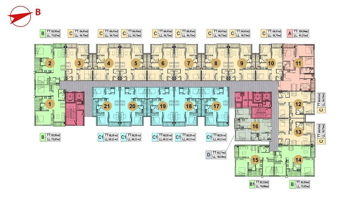 Mặt bằng tầng điển hình dự án Minh Quốc Plaza